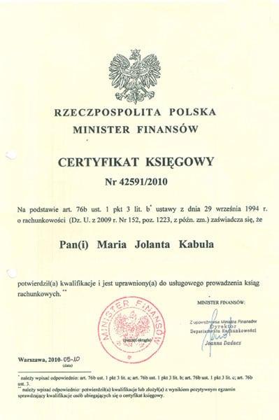 Certyfikat potwierdzający kwalifikacje do usługowego prowadzenia ksiąg rachunkowych.