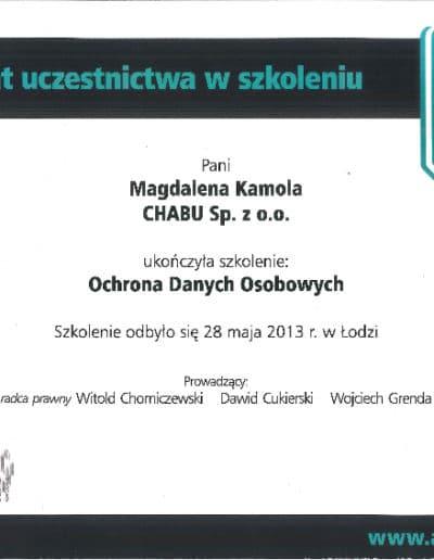 Certyfikat uczestnictwa w szkoleniu nt. ochrony danych osobowych.