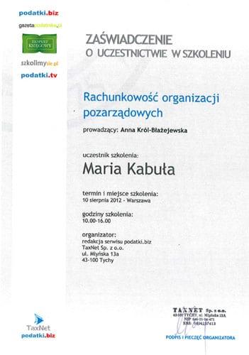 """Zaświadczenie o uczestnictwie w szkoleniu """"Rachunkowość organizacji pozarządowych"""""""