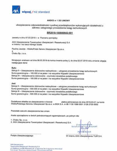 Ubezpieczenie biuro rachunkowe MARKA - aneks 2019