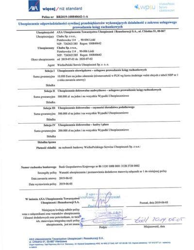 Ubezpieczenie biuro rachunkowe MARKA za rok 2019